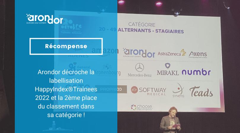 Arondor obtient le label HappyTrainees 2022 !